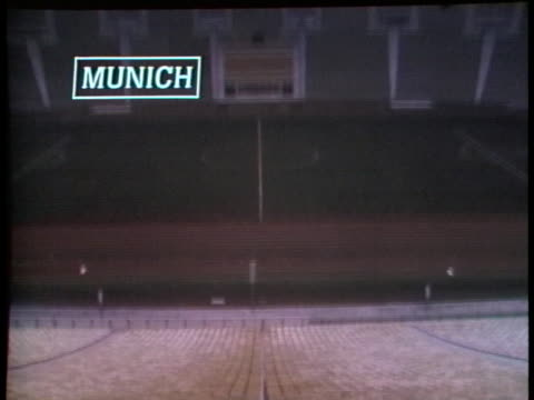 a sports stadium stands empty in munich after israeli athletes were killed at the olympic games - sport stock-videos und b-roll-filmmaterial