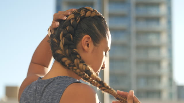 sports woman posing for the camera - braided hair stock videos & royalty-free footage