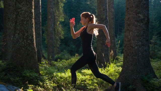 sportswoman running in nature - running stock videos & royalty-free footage