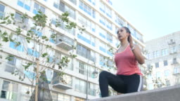 Sporty woman doing steps workout