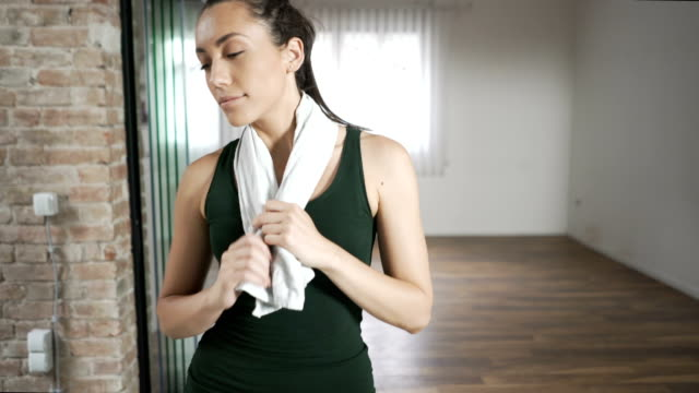 sporty woman - towel stock videos and b-roll footage