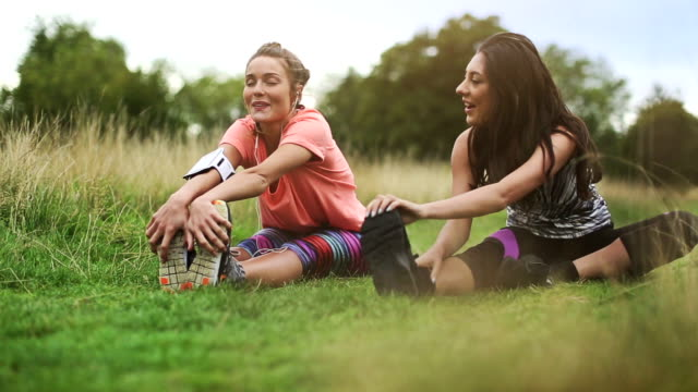 sporty women stretching muscles - hyde park london stock videos & royalty-free footage