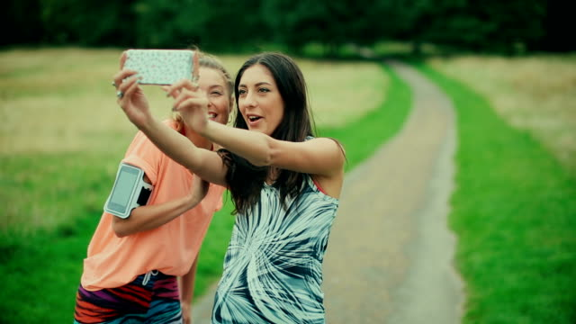 Sporty women take a selfie