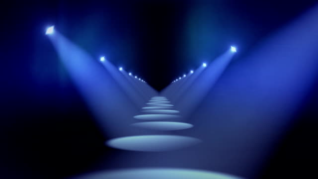 spotlights in hallway background loop blue - runway stock videos & royalty-free footage