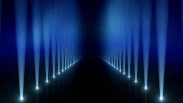 spotlights on catwalk background loop blue - award stock videos & royalty-free footage
