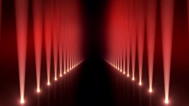 Spotlights on Catwalk Background Loop Red