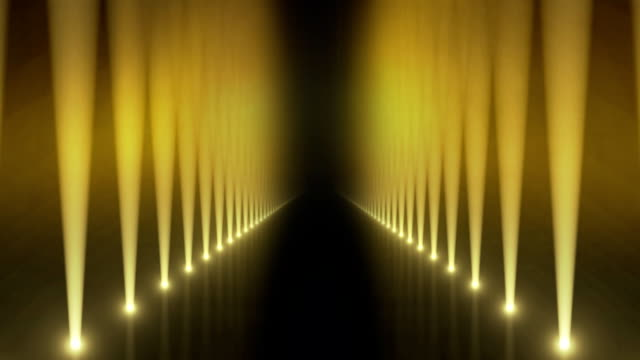 spotlights on catwalk background loop yellow - spotlight stock videos & royalty-free footage