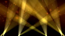 Spotlights on Sky Background Loop Yellow