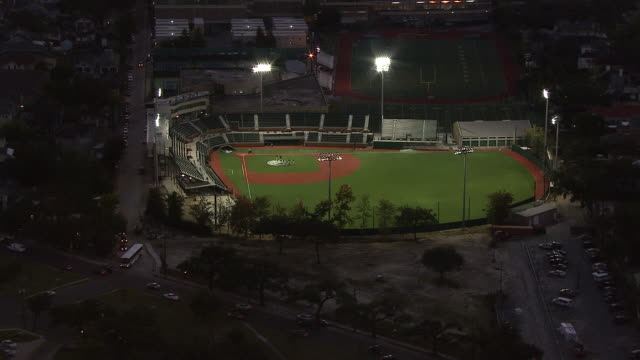 spotlights shine on an empty baseball field. - real time stock videos & royalty-free footage