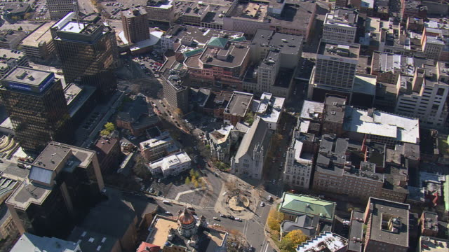 aerial sprawling buildings of downtown syracuse / new york, united states - syracuse stock videos & royalty-free footage