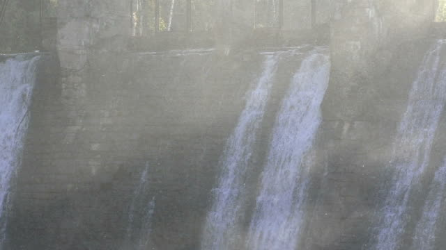 Spray over the falling water
