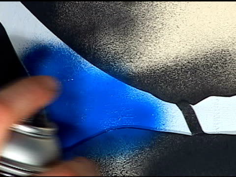 spray paint : blue anamorphic video - stencil stock videos & royalty-free footage