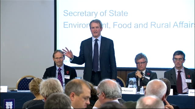 spread of ash dieback disease continues england london whitehall int owen paterson mp addressing conference sot audience experts talking at table... - オーウェン・パターソン点の映像素材/bロール