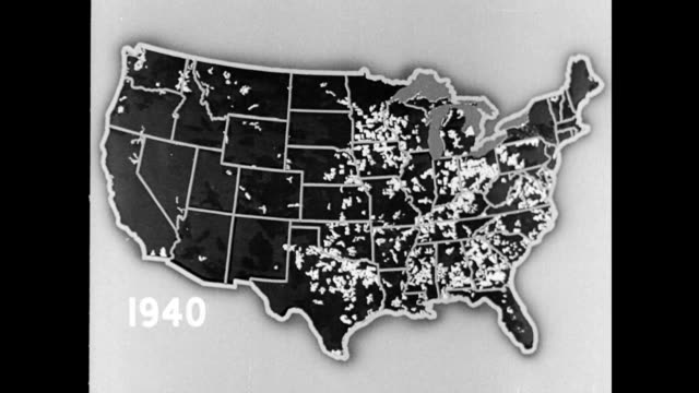 spread of the electrification of america / map of the united states with the date '1940' displaying the farms and rural consumers with electricity /... - agricultural cooperative stock videos and b-roll footage