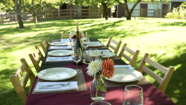 Spread table in a yard
