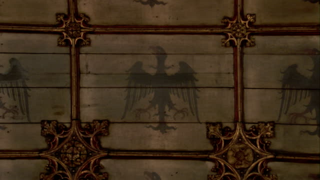 a spread-eagle decorates the middle of each tile on the ceiling of st. helen's church. available in hd. - norfolk england stock videos and b-roll footage