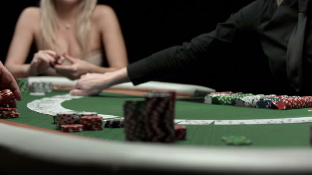 hd dolly: spreading cards on a poker table - blackjack stock videos and b-roll footage