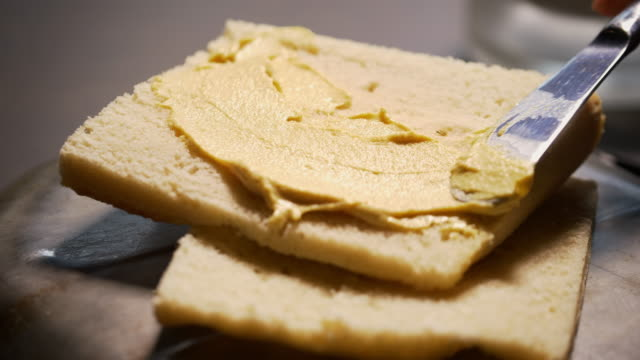 spreading mustard on a thin piece of bread - agritourism stock videos & royalty-free footage