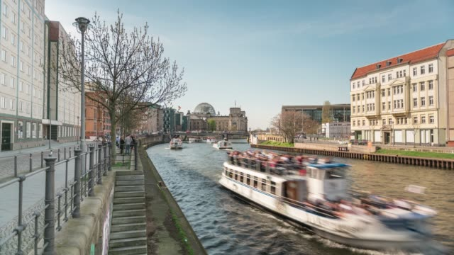 spree river in berlin - tourboat stock videos & royalty-free footage