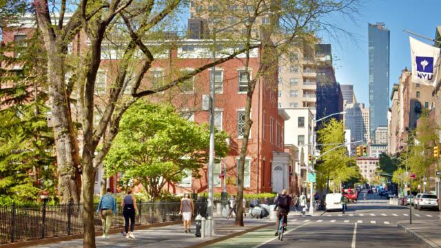 spring at new york city. new york university. washington square park - new york university stock videos & royalty-free footage