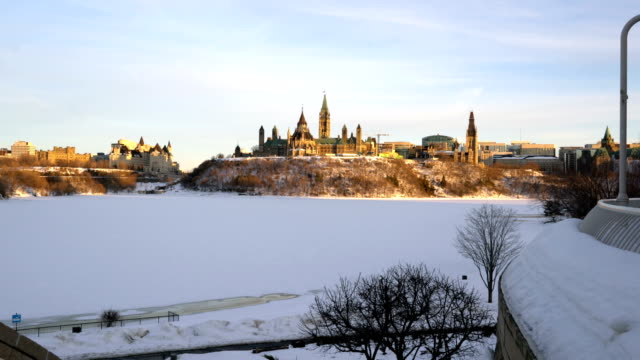 spring came and the ottawa river began to melt. - parliament hill stock videos and b-roll footage