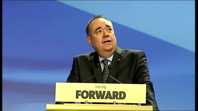 spring conference: alex salmond speech; scotland: aberdeen: int nicold sturgeon msp introductory speech sot / alex salmond msp speech sot **speech... - only young men stock videos & royalty-free footage