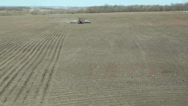 spring cornfield planting aerial - plant pot stock videos & royalty-free footage