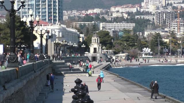 spring crimea, yalta through the eyes of a tourist - ukraine stock videos & royalty-free footage