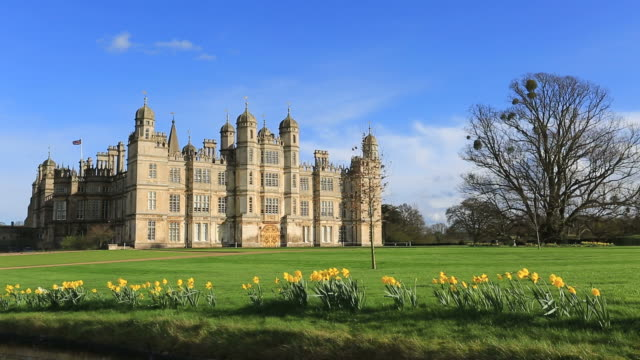 stockvideo's en b-roll-footage met spring daffodils, burghley house stately home, cambridgeshire, england, uk - landhuis