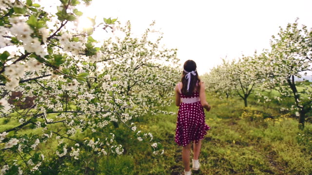 spring girl among blooming trees - polka dot stock videos and b-roll footage