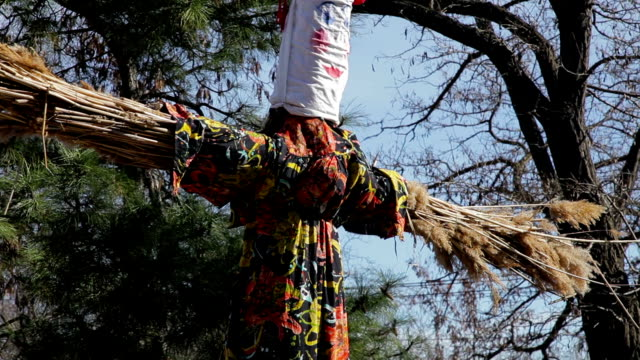 spring holiday with a scarecrow - traditional ceremony stock videos & royalty-free footage