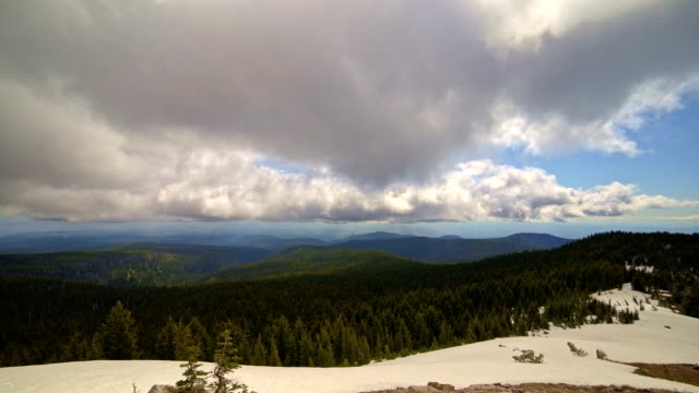 Spring in the cascade mountains snowmelt clouds forest from Mt. Hood National Forest