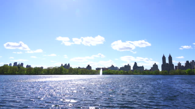 Spring sunlight illuminates the reservoir, and wind makes ripples on it at Central Park New York. Rows of fresh green trees surround the reservoir. Central Park West Historic District can be seen behind reservoir.