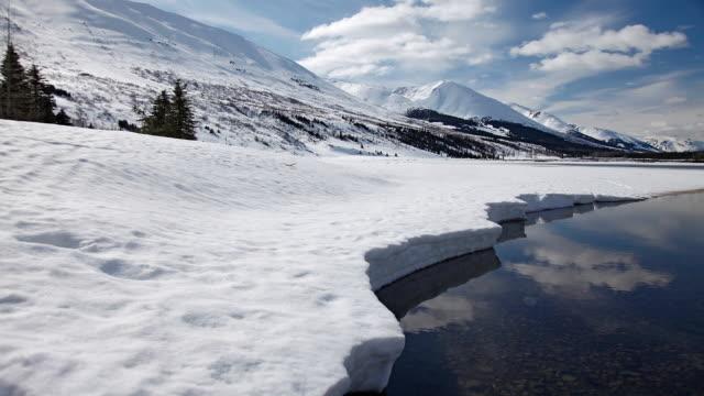 spring thaw on lower summit lake, chugach national forest, alaska - chugach national forest stock videos & royalty-free footage