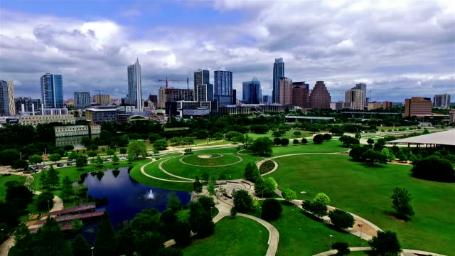 spring time bliss austin texas over downtown modern parks and skyline - architectural model stock videos & royalty-free footage
