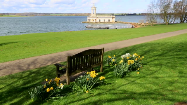 Spring view of Normanton Church, Rutland Water Reservoir, Rutland County, England