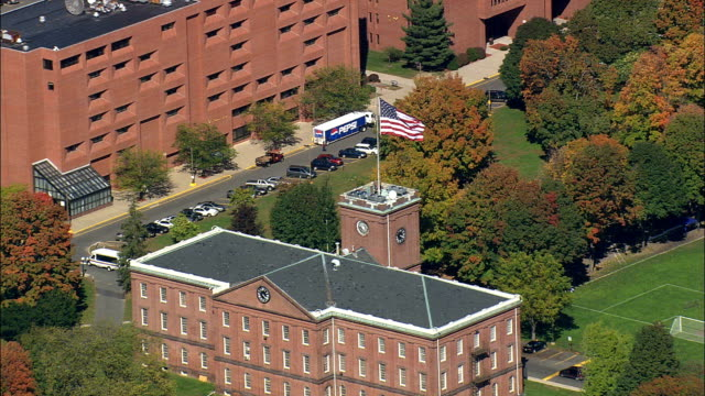 springfield armory national historic site  - aerial view - massachusetts,  hampden county,  united states - springfield massachusetts stock videos & royalty-free footage