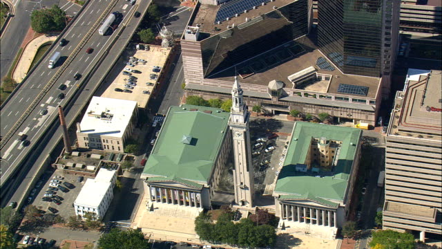 springfield city hall - aerial view - massachusetts,  hampden county,  united states - springfield massachusetts stock videos & royalty-free footage