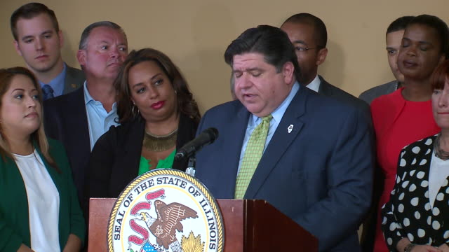 wgn springfield il us governor j b pritzker speaking after signing bill legalizing recreational marijuana on tuesday june 25 2019 - legalisation stock videos & royalty-free footage