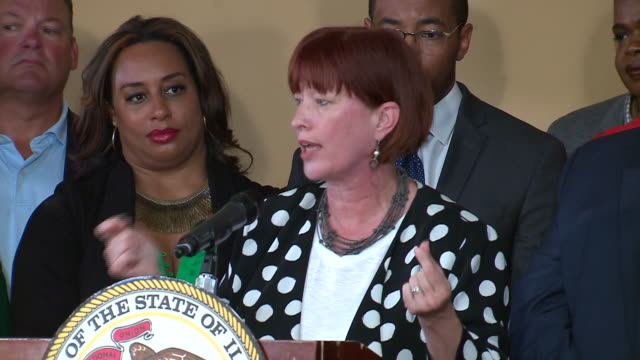 wgn springfield il us il senator heather steans speaking after signing bill legalizing recreational marijuana on tuesday june 25 2019 - legalisation stock videos & royalty-free footage