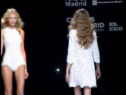 spring/summer 2011 collection. teresa heilbig: cibeles madrid fashion week on september 20, 2010 in madrid, spain - fashion collection stock videos & royalty-free footage