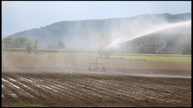 sprinkler spraying water in a field, ardeche, france - automatic stock videos & royalty-free footage