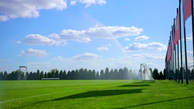 vídeos de stock e filmes b-roll de sprinkler watering grass field stock video - relvado terra cultivada