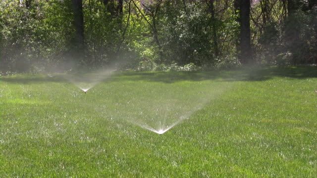 stockvideo's en b-roll-footage met sprinklers. agricultural sprinkler spraying water on back yard green grass. - water geven