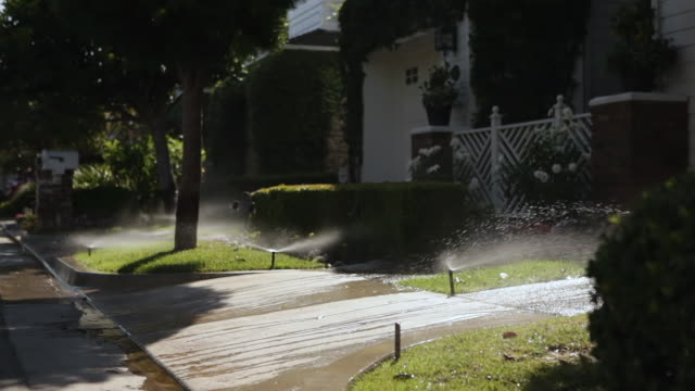 ms sprinklers watering lawns infront of house in early morning / los angeles, california, united states - lawn stock videos & royalty-free footage