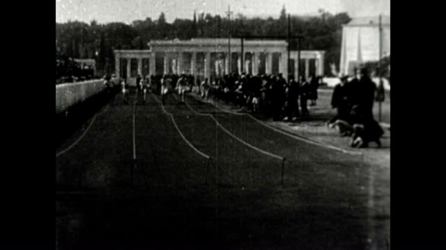 sprint race at the 1906 intercalated olympic games - panathinaiko stadium stock videos & royalty-free footage