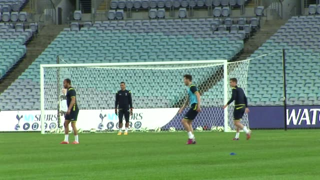 spurs players during a tottenham spurs training session at anz stadium on may 29 in sydney australia last shot shows star player harry kane training - harry kane soccer player stock videos & royalty-free footage