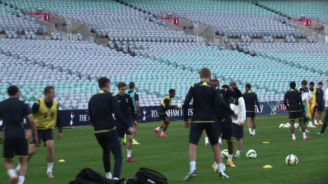 spurs training at anz stadium in sydney australia on may 29 in preparation for saturday's friendly game against sydney fc - tottenham hotspur f.c stock videos & royalty-free footage