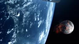 Spy Satellite orbiting Earth. Burning moon in background. NASA Public Domain Imagery