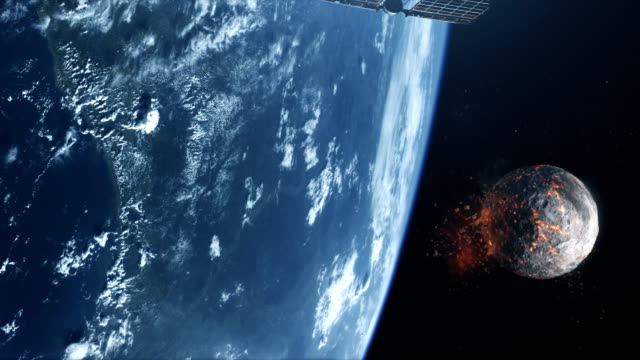 Spy Satellite orbiting Earth. Burning moon in background. NASA Public Domain Imagery